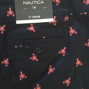 Nautica Shorts - NWT Nautica SZ 14 navy blue with pink lobsters